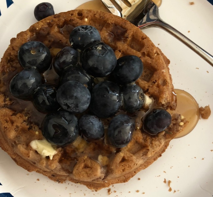 vans waffle with syrup and blueberries